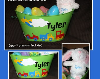 Personalized Easter Basket AND Bunny - TRANSPORTATION