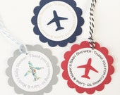Personalized Airplane Party Favor Tags - Birthday, Baby Shower