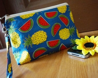 Pineapple and Watermelon makeup bag, Cute makeup bag, Fruits gift, Cool Unique Gift, Fruits makeup bag, Fruits cosmetic bag, Blue Fruits bag