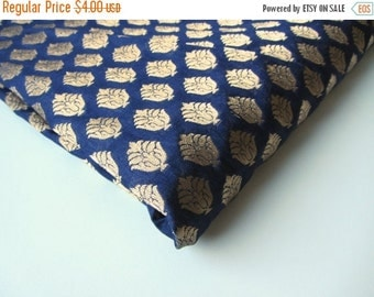 ON SALE Dark blue gold flower silk brocade from India fabric nr 551 REMNANT