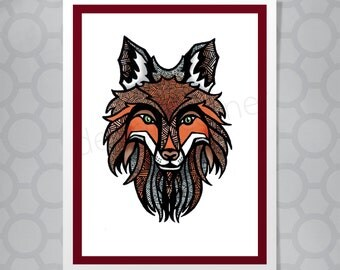 Illustrated graphic fox card