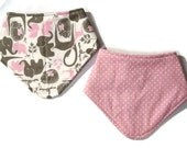 Girl Bandana Bibs - Bibdana for Girls - Elephant Baby Bib - Bib Set - Baby Girl Gifts - Giraffe Baby Bibs - Dribble Bibs - Pink and Gray Bib