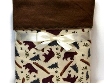 Woodland flannel blanket - flannel baby blankets - boy blankets - cot blankets - crib bedding - rustic baby bedding - toddler blankets