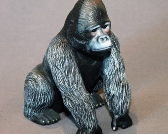"Gorilla Bronze ""Silverback Gorilla"" King Kong Figurine Statue Sculpture Art / Limited Edition Signed & Numbered"