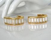 Napier Rhinestone Earrings, Baguette Glass, Gold Tone, Art Deco Vintage Jewelry, WINTER SALE