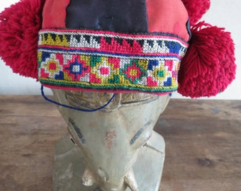 Vintage Baby hat,  Handmade Fabric, cross stitch tapestry and textiles, hill tribal clothing,