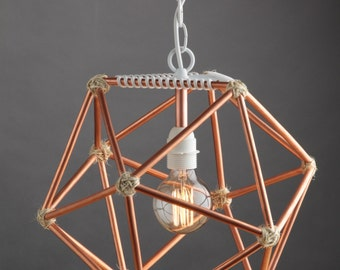 Modern Copper Icosahedron Light, Geometric Lighting, Hanging Pendant, Chandelier, Table Lamp, Designer Home Decor, Unique Mod, Triangle, D20