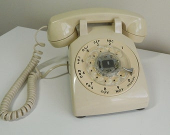 Vintage Rotary Phone with Volume control, Cream Color, Working