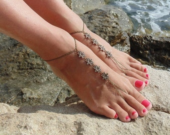 Bronze Flower Barefoot sandals Beach Barefoot Jewelry with Toe Ring Shoeless Sandal Bronze Anklet  Belly dance jewelry  Foot Sandals Boho