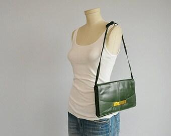 Vintage 1980s Leather Clutch Bag / 80s Deep Green Envelope Handbag Clutch Shoudler Bag / Made in Italy
