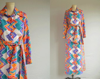 Vintage 1970s Lanvin Maxi Dress / 70s Mod Graphic Jersey Knit Shirtdress Print Dress / Novelty Border Print with Belt