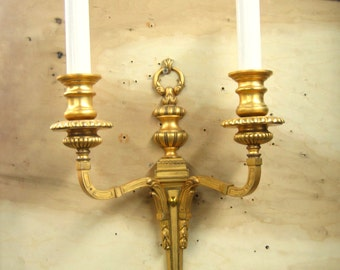 7679 A Single 1920's Regency Style European Gilt Brass Electric Candle Wall Sconces  Rewired