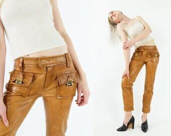 DSQUARED2 Cognac Leather Pants
