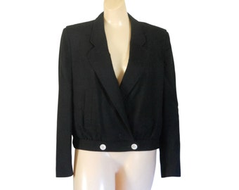 Cropped Blazer Black Blazer Women Blazer Linen Blazer Cropped Jacket Short Jacket Black Jacket Ladies Clothing Ladies Clothes Women Clothing