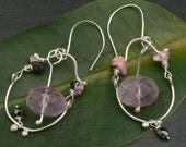 Dangling Purple Fluorite and Rhodochrosite earrings with Crystal
