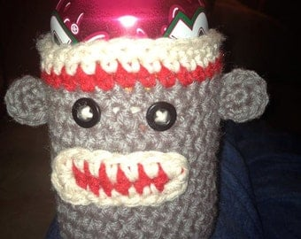 Sock Monkey Can Coozie