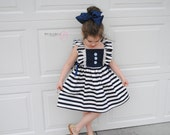 Out to Sea Nautical/Sailor Inspired Dress with Navy and White Stripes, Ruffled Bodice, Lace, and Buttons
