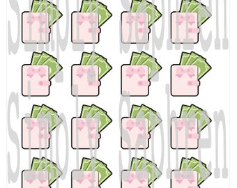 20 Pink Wallet Planner Stickers