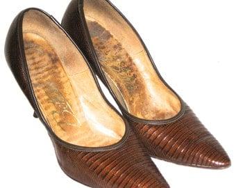 Vintage Bettina embossed leather pumps stilettos heels 50s rockabilly shoes