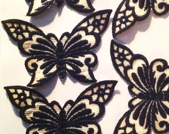 5 vintage embroidered butterfly patches navy blue and white