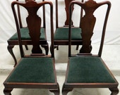 Antique Set 4 Mahogany Dining Room Chairs Fiddle Urn Backs Sheraton Queen Anne Legs Regency High Backs Duncan Phyfe