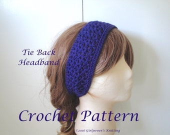 Easy Crochet Pattern, Tie Back Headband, Lacy Stitch, Quick Fast Crochet, Sport Weight Yarn