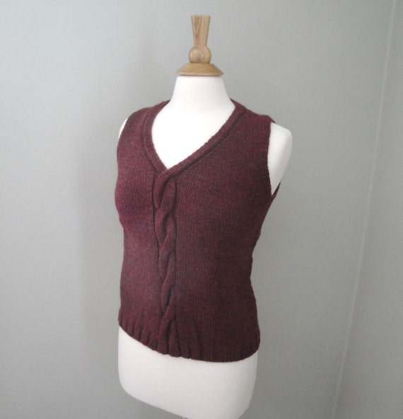 Knit Vest with Cables, Pullover Sweater Vest, Burgundy Red, Women's Small Medium