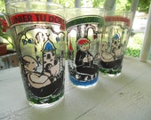 French Glasses Nursery Rhyme Songs  Set Of 3 Vintage 1960s