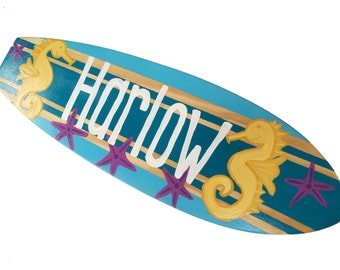 Beach Themed Surfboard Art, Surfer Wall Art, Surfer Girls Bedroom Decor, 24 inch