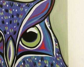 "Owl Buddy ~Original acrylic painting 8"" x 10"""