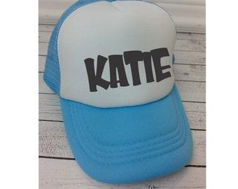 Name Hat, Kids Hats, Trucker Hat for Kids, Foam Mesh Hat, Youth Hat, Name Hat for Kids, Baseball Hat for Kids, Childrens Hats,Blue Hat