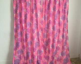 Vintage Curtains, Pink and Purple Curtains, Daisy Curtains, Flower Curtains, Mesh Curtains, Sheer Curtains