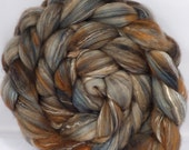 Batt in a Braid #5 -Hand dyed top for spinning - Soot - (4.6 oz.) merino/ camel/silk/faux cashmere/firestar (25/25/25/12/12)