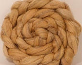 Hand dyed Top for spinning - Quebracho Yellow  -(4.2 oz.)  18.5 mic. superfine merino/tussah silk/ natural flax ( 50/25/25)