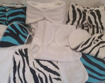 Medium cloth diaper 9 pc kit fits up to 24 lbs fitted with pul cover liners wipes zebra print
