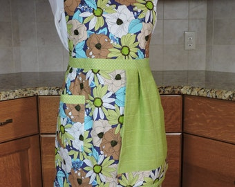Lime green, aqua, brown floral full apron with towel