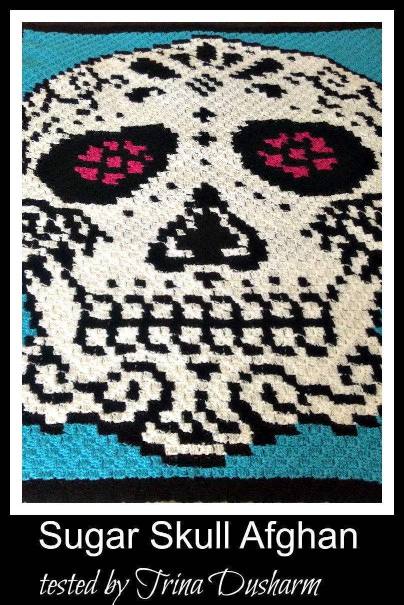 C2c Graph Sugar Skull In Color Afghan C2c Crochet Graph With