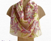 Handpainted Ivory Silk Scarf Floral #8