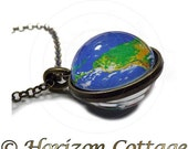 Earth Globe, Two Sided Necklace, World Map, Pendant and/or Key Ring, Bag Clip