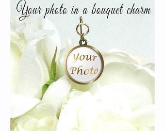Custom Photo Charm for your Bridal Bouquet, Photo Floral Pick, Custom Florist Pick, Custom Gift for The Bride, Wedding Bouquet Memory Charm