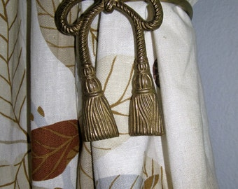 Vintage Pair of Glam Brass Bows and Tassels Drapery Curtain Tie Backs (Set of 2).  The Glitz and Delicate Accents of Hollywood Regency.