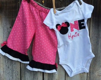 First Birthday Outfit, Minnie Mouse Birthday Outfit, Minnie Mouse Birthday Bodysuit