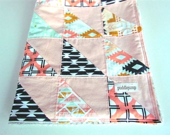 Southwest Triangle Patchwork Blanket || Tribal Triangle Patchwork Quilt || Peach, Navy & Mint Arizona Triangle Baby Blanket with Grey Minky