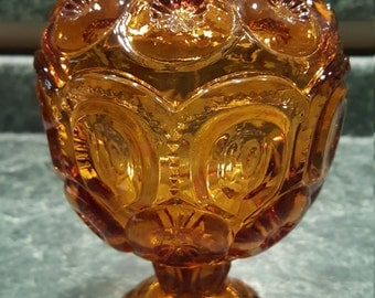 Fenton Button Candy Dish - Amber