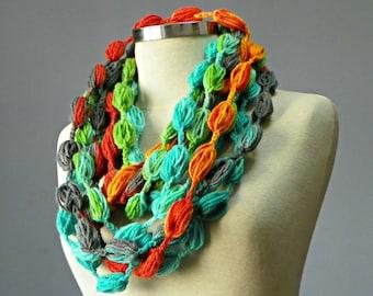 SALE, Crochet Infinity scarf, bubble fiber necklace, loop neckwarmer, women accessories, chunky  scarf