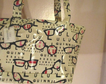Vintage New old Stock Lulu Guinness Handbag w Carry all inside White Vinyl w Letters