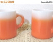 SALE Two 1970's Vintage Orange And White Coffee Cups, Mugs, Tea-Rare