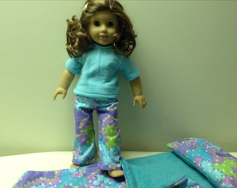 American Girl or other 18 inch doll pajamas in purple and light teal prints