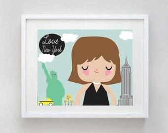 "SALE: I Love New York NYC Nursery Art Print - Digital Download - 8x10"""