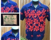 VINTAGE 1960s Ui Maikai Blue & Red Floral Hawaiian Shirt / Aloha Shirt --MADE in HAWAII - Horizontal Buttonholes